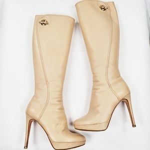 Christian Dior Knee High Heeled Boots Almond Toe